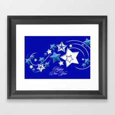 Teal and Blue Happy New Year Shooting Stars  Framed Art Print