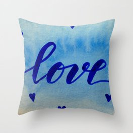 Valentine's Day Watercolor Love - blue Throw Pillow