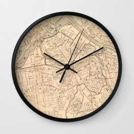Vintage Map of Lowell MA (1904) Wall Clock