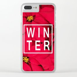 Beautiful Winter Typography and Poinsettias Clear iPhone Case