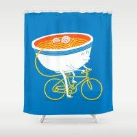 ramen Shower Curtains featuring GoGo Ramen by mogumogu