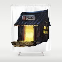 animal crossing Shower Curtains featuring Animal Crossing: Nooks Cranny by Makar Deku