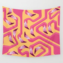 Flamingo Maze Wall Tapestry