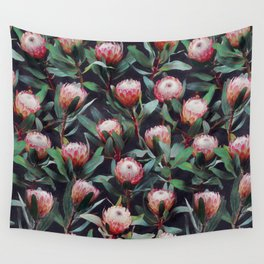 Evening Proteas - Pink on Charcoal Wall Tapestry