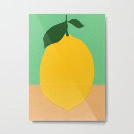 Lemon With Two Leaves Metal Print