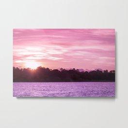 Beautiful Pink Beach and Sunset Metal Print