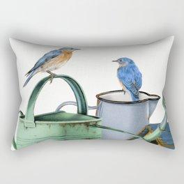 Bluebirds At The Potting Shed Rectangular Pillow