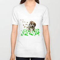 beagle V-neck T-shirts featuring Beagle by MinnaEleonoora