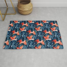 Birds and Reeds in Red and Blue Rug