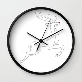 Red Nose Reindeer Wall Clock