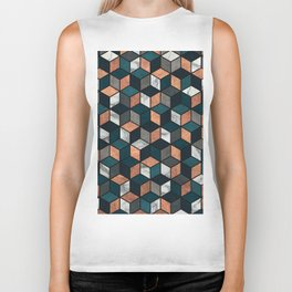 Copper, Marble and Concrete Cubes with Blue Biker Tank