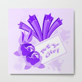Purple roses and shooting stars for MY GIRL Metal Print