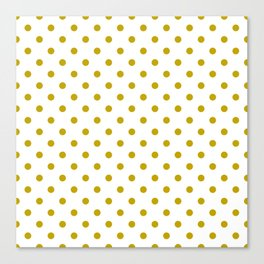 White and Gold Polka Dots Canvas Print