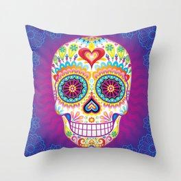 Sugar Skull Art (Luminesce) Throw Pillow