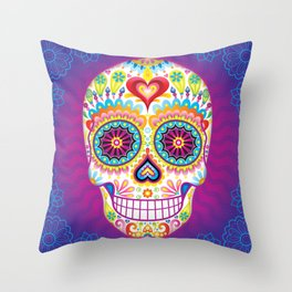 Sugar Skull Art (Luminesce) Throw Pillow