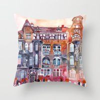 takmaj Throw Pillows featuring Apartment House in Poznan and orange umbrellas by takmaj