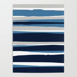 Striped Modern Beach Landscape Blue Grey Poster