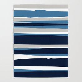 Ocean Beach Striped Landscape, Navy, Blue, Gray Poster
