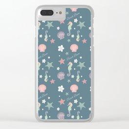 Beach Bum Seahorse Pattern(teal) Clear iPhone Case