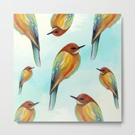 Watercolor Bird Pattern - Multicolor Feathers - Abstract Blue Sky Metal Print