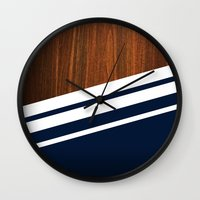 wooden Wall Clocks featuring Wooden Navy by Nicklas Gustafsson