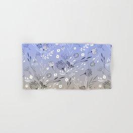 Modern sky blue brown gradient floral illustration  Hand & Bath Towel