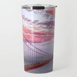 World Famous Golden Gate Bridge San Francisco California Low Hanging Clouds Romantic Evening Red Travel Mug