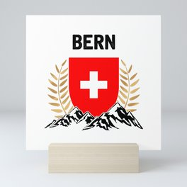Bern Swiss Flag TShirt Swiss Alps Shirt Switzerland Gift Idea  Mini Art Print