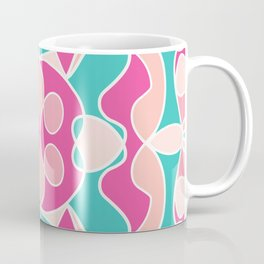 Girly Modern Pink Coral Teal Abstract Geometric Coffee Mug