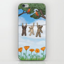robins, poppies, & teddy bears on the line iPhone Skin