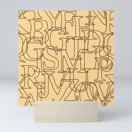 Antique Looking Latin Alphabet Seamless Pattern Mini Art Print