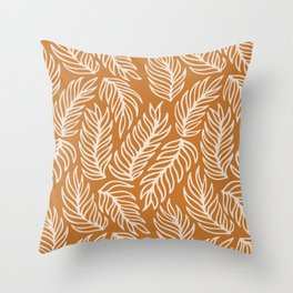 Mustard Palm Leaves Pattern Throw Pillow