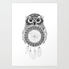 Owl Mandala Art Print