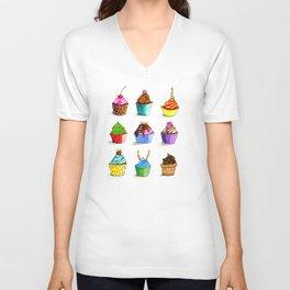 Illustration of tasty cupcakes Unisex V-Neck