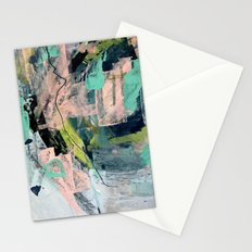 Connect [4] : a vibrant acrylic abstract in neon green, blues, pinks, & hints of orange Stationery Cards