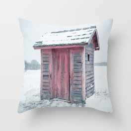Winter Outhouse Snowy Field Red Wooden Cold Throw Pillow