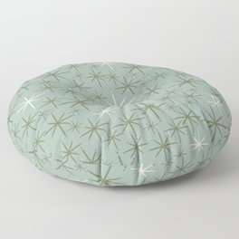 Twinkling Retro Starbursts Mid Century Mod Pattern in Vintage Celadon Blue, Olive Green, and Cream Floor Pillow
