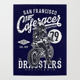 Caferacer Vintage Motorcycle Typography Poster