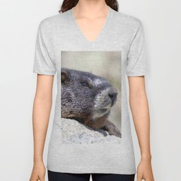 Watercolor Marmot 29, Forest Canyon Tundra, RMNP, Colorado, What's all the Commotion About? Unisex V-Neck