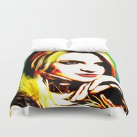 britney spears Duvet Covers featuring Britney Spears - Superstar - Pop Art by William Cuccio aka WCSmack