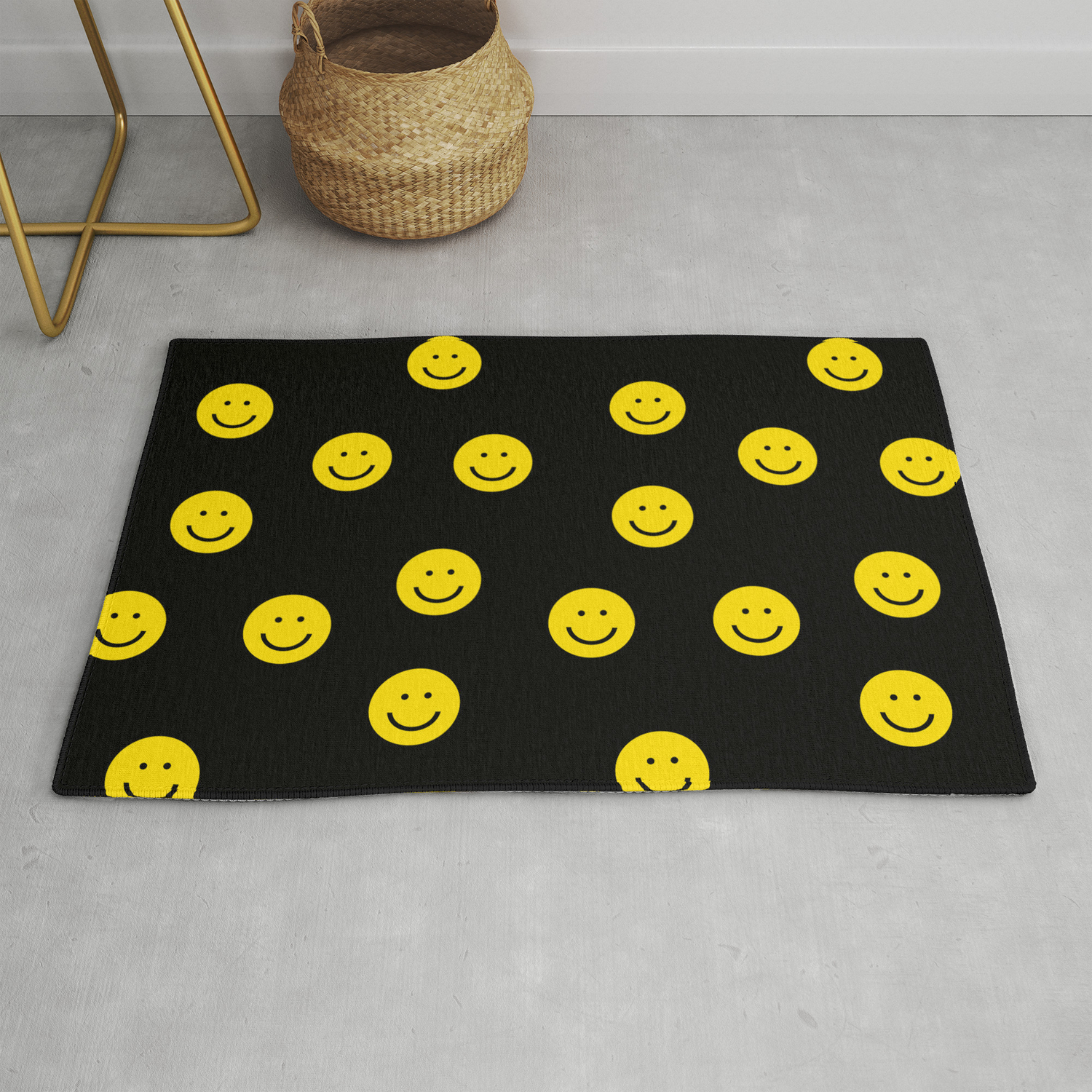 Smiley Faces Yellow Happy Simple Rainbow Colors Pattern Smile Face Kids Nursery Boys Girls Decor Rug By Charlottewinter
