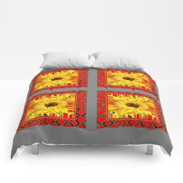 DECORATIVE TEAL-RED & YELLOW SUNFLOWER GREY DECO FLORAL Comforters
