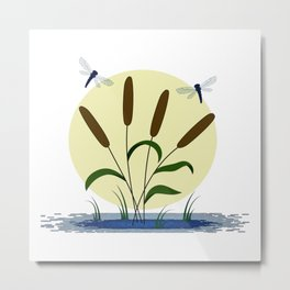 Cattails and Dragonflies Metal Print