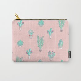 Little succulent pattern on pastel pink Carry-All Pouch