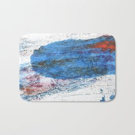 Steel blue colored wash drawing texture Bath Mat