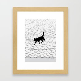 """J.R.R. Tolkien """"Not all those who wander are lost"""" cat literary quote Framed Art Print"""