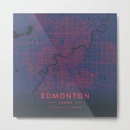 Edmonton, Canada - Neon Metal Print