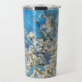 Blossom and Blue Sky In Monet Style Travel Mug