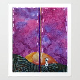 Walking through sunset Art Print