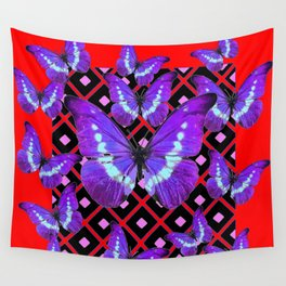 Chinese Red And Purple Butterflies on Black Art Wall Tapestry